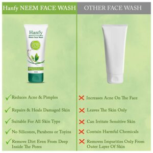 Hanfy Neem Face Wash - Soap Free- No Parabens, Silicones & Mineral Oil (150ML)